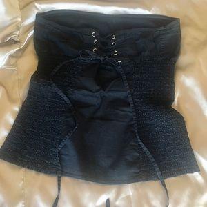 Black corset style tube top